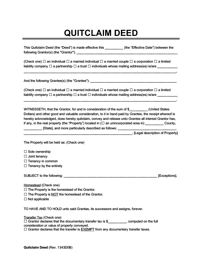 Quitclaim Deed Template. Quit Claim Deed Form Free Download ...