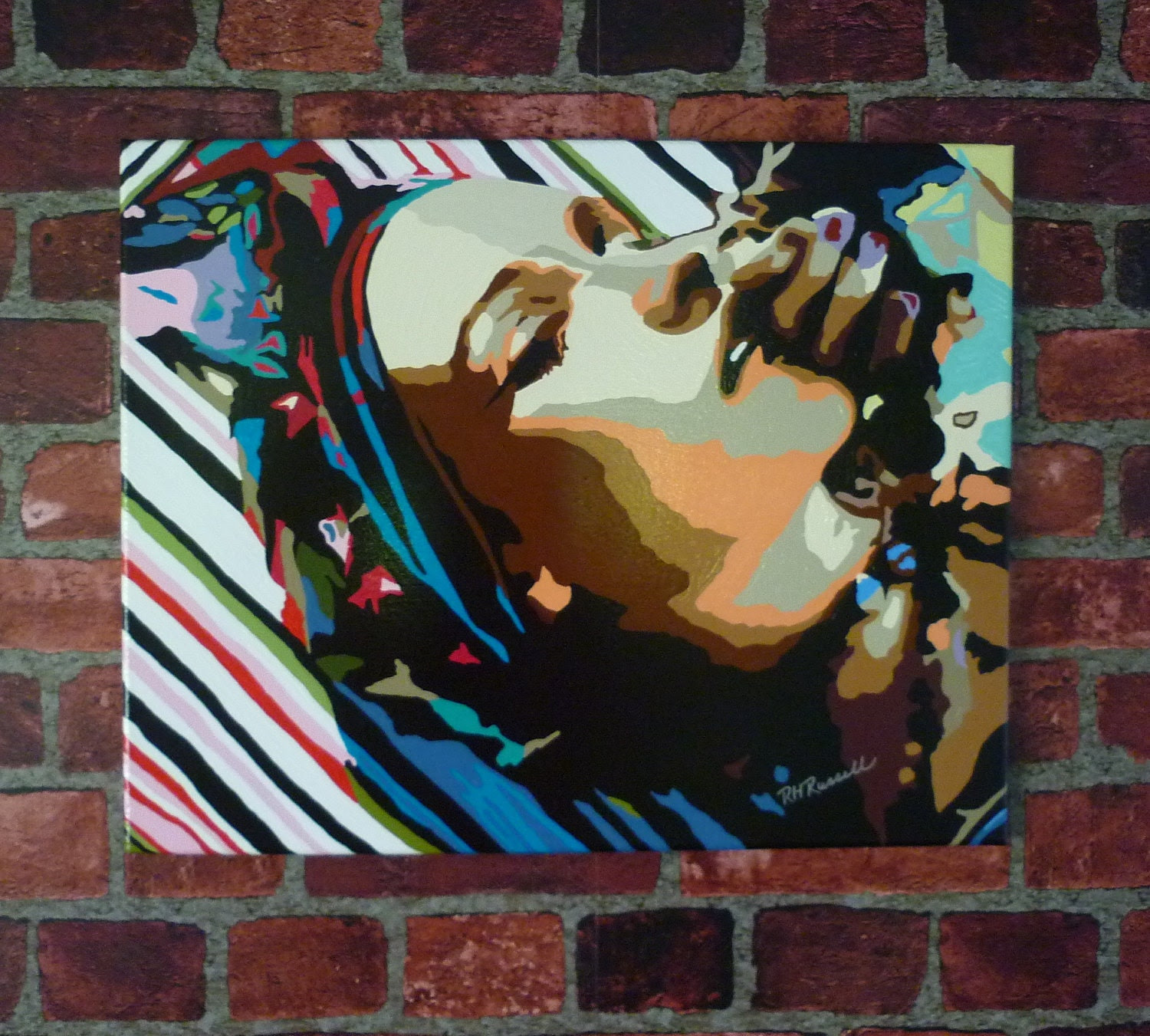 EXOTIC LADY Shadowed Pop Art Modern Contemporary Abstract Canvas Painting 16X20