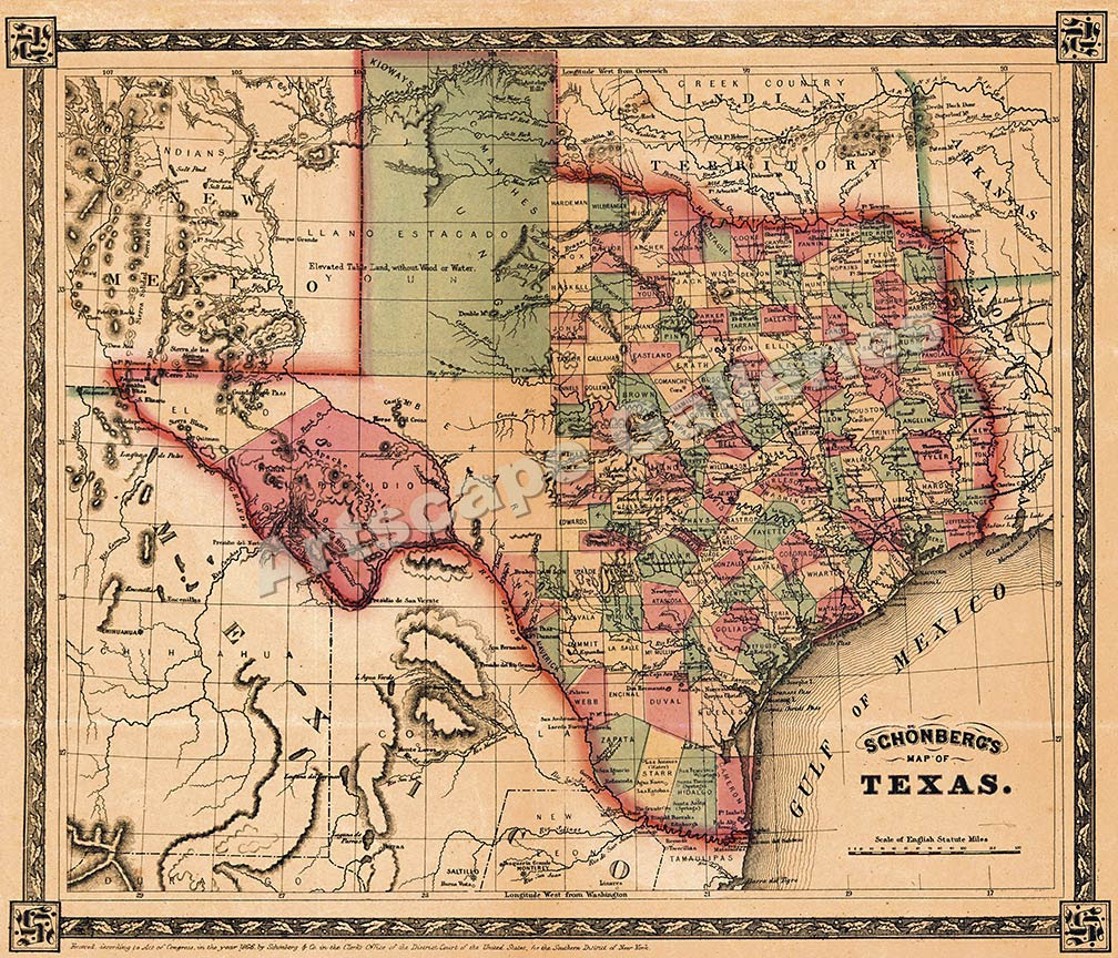 Historic texas map business ideas 2013 title historic texas map gumiabroncs Gallery