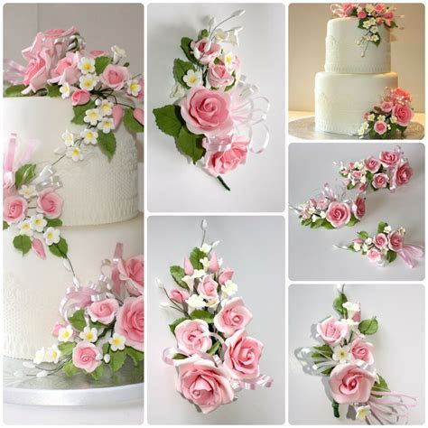 OPEN ROSE SPRAY PINK, S/M/L, Sugar Flowers, Cake Topper