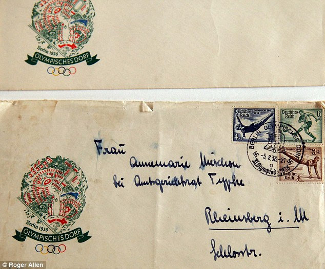 With the Olympic logo on the right and stamps featuring star athletes of the day, a letter found at the site