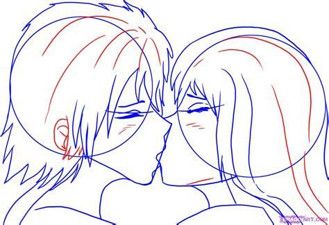 draw people kissing step  step anime people