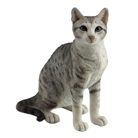 Veronese Design Spotted Gray Shorthair Tabby Cat Sculpture