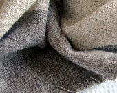 Wrap / Shawl in Grey - Hand woven Stole, beaded edge - Akkord