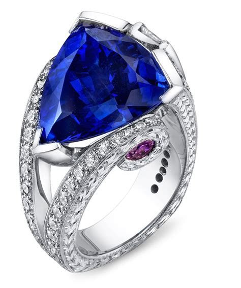Magnificent Tanzanite Unique Ring   Floral Engagement
