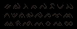 Huruf-huruf konsonan dasar dalam aksara Lontara.