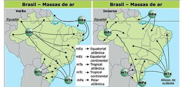 Resultado de imagem para mapa de  massas de ar