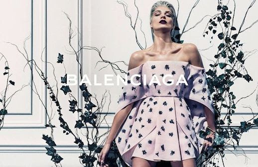 LE FASHION BLOG BALENCIAGA SS 2014 AD CAMPAIGN MODEL DARIA WERBOWY BY STEVEN KLEIN SPRING SUMMER COLLECTION SHORT BLEACH BLOND HAIR PIXIE CUT SLICKED BACK DARK VAMPY LIPSTICK SHARON STONE LAVENDER FLORAL PRINT ORIGAMI DRESS1 photo LEFASHIONBLOGBALENCIAGASS2014ADCAMPAIGNDARIAWERBOWYBYSTEVENKLEIN1.jpg