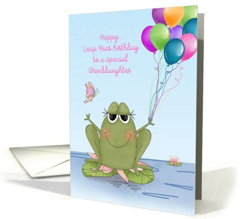 Frog with Balloon Bouquet, Leap Year Birthday for