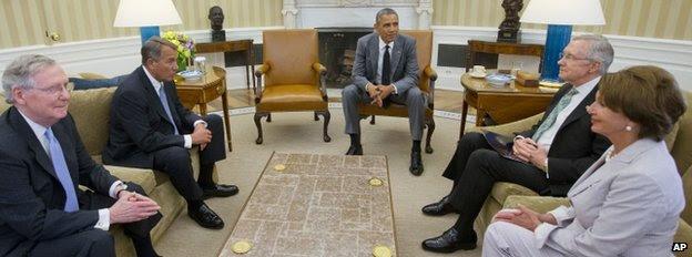President Barack Obama meets (from left) Senate Minority Leader Mitch McConnell, House Speaker John Boehner, Senate Majority Leader Harry Reid and House Minority Leader Nancy Pelosi in the Oval Office of the White House