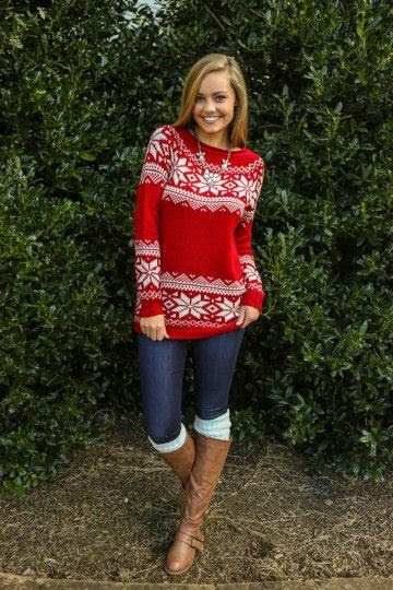 Cozy red Christmas snowflake sweater...the perfect casual outfit for Christmas | Friday Christmas Favorites at www.andersonandgrant.com
