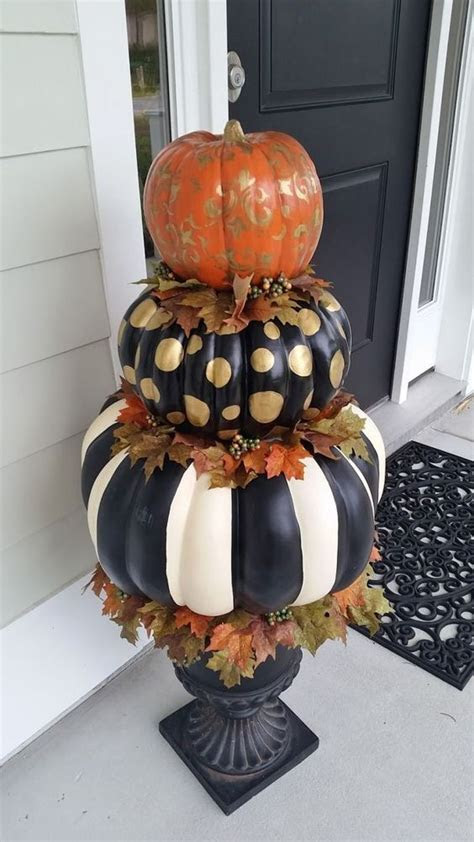 Painted Stacked Pumpkins Decoration Pictures, Photos, and