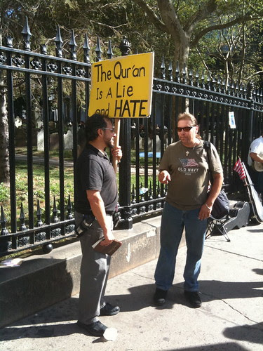 Anti-Islamic Center protesters