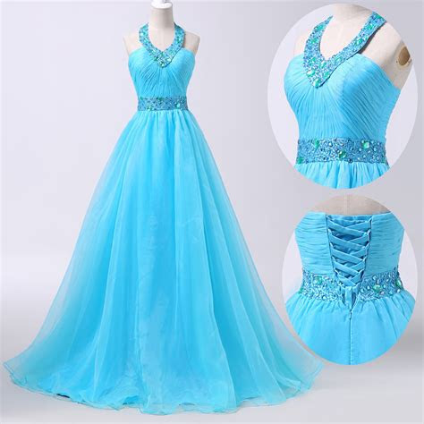 blue long prom dress formal masquerade ball gowns party