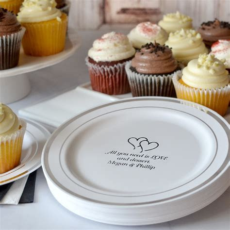 Silver Trim Anniversary Cake Plates Personalized   My