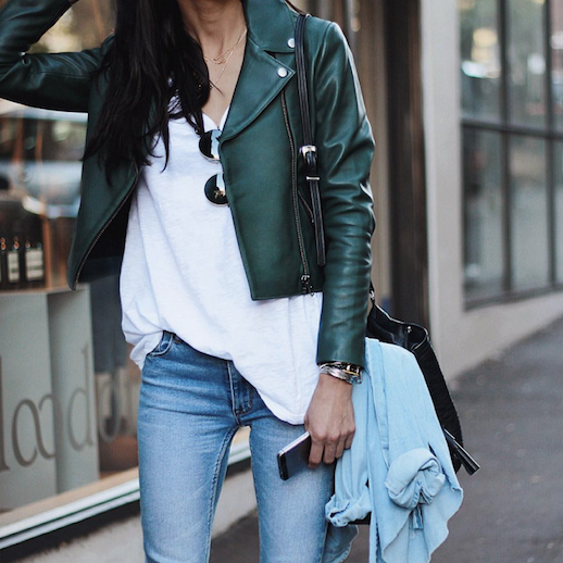 Le Fashion Blog Ways To Wear Green Coat Fall Winter Street Style Moto Leather Jacket White Tee Skinny Jeans Via Pepamack Instagram