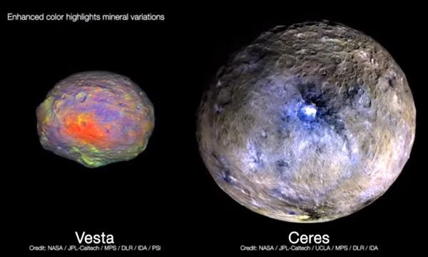 Enhanced color images of asteroid Vesta and dwarf planet Ceres...which were explored by NASA's Dawn spacecraft in 2011 and 2015, respectively.