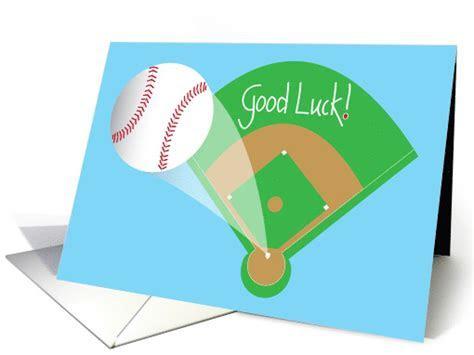 Good Luck on Baseball Game with baseball and field card