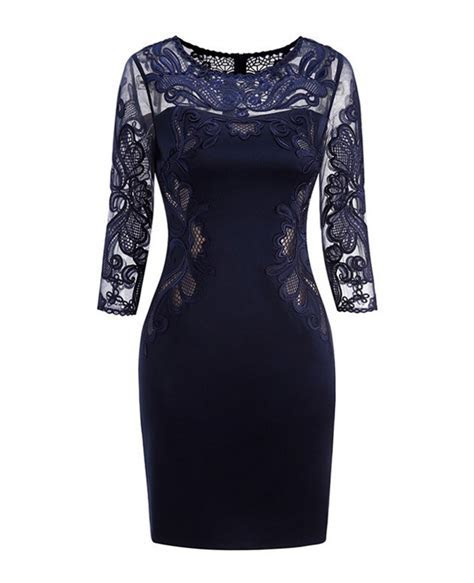 Classy Navy Blue Lace Long Sleeve Cocktail Dresses For