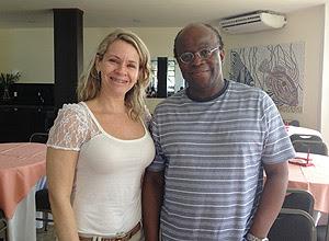 Joaquim Barbosa ao lado da gerente do hotel no qual se hospedou em Natal