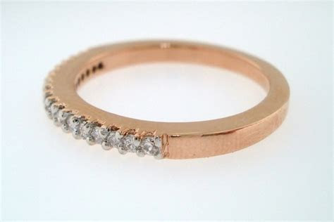 Chunky Rose Gold Wedding Band with Inset Diamonds