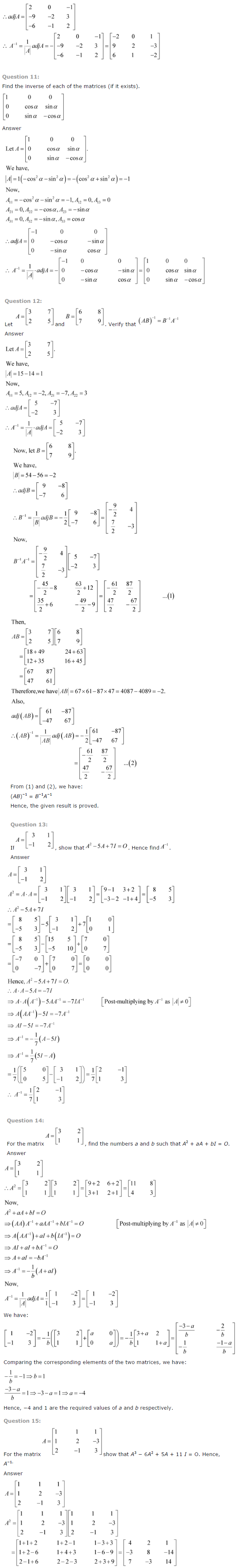 NCERT Solutions for Class 12 Maths Chapter 4 Determinants ex 4.10