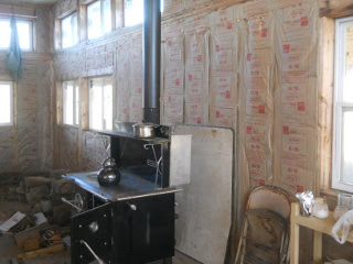 Great Room Kitchen Wall Insulation & Heat Barrier Behind Wood-Burning Cook Stove