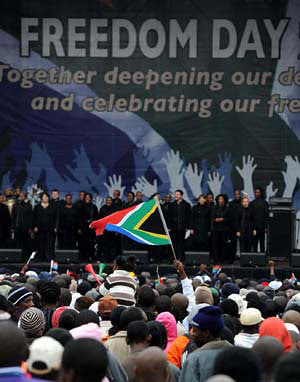 Freedom Day 16th anniversary rally at the Union Bldg. in Pretoria, South Africa. President Zuma said in his address that there was much to be done for the country. by Pan-African News Wire File Photos