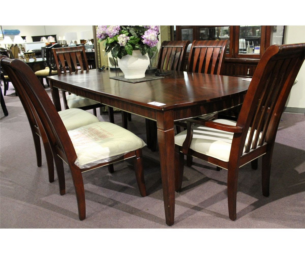 DARK WOOD INLAYED FORMAL DINING ROOM TABLE WITH LEAF \u0026 6 CHAIRS  Able Auctions
