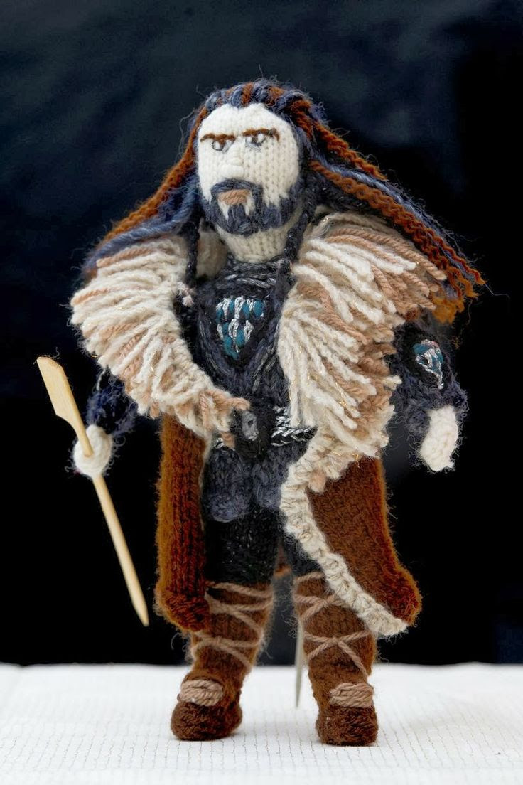 Grandmother's stunning knitted models of Lord of the Rings and The Hobbit characters (Thorin Oakenshield)