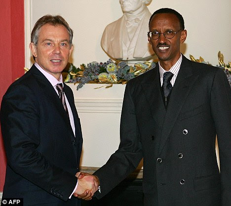 Friends: Tony Blair greets Rwandan President Paul Kagame inside No 10 in December 2006 while he was still Prime Minister