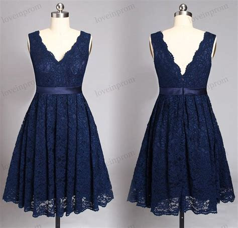 Navy Blue Lace Bridesmaid Dresses,short Wedding Party