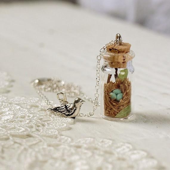 Tiny Woodland Terrarium Robin's Nest Necklace