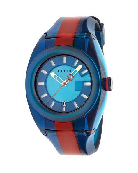 Gucci 46mm Gucci Sync Sport Watch w/ Rubber Strap, Blue
