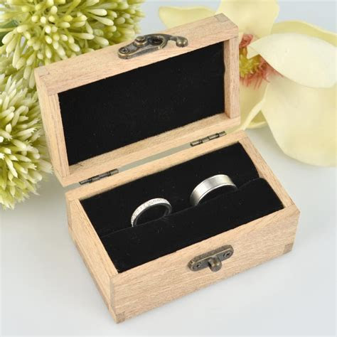 Personalised Favours Rustic Wooden Double Wedding Ring Box