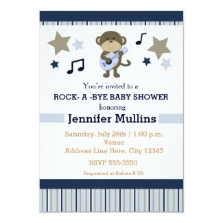 Rock Star Party Baby Shower Monkey Invitation
