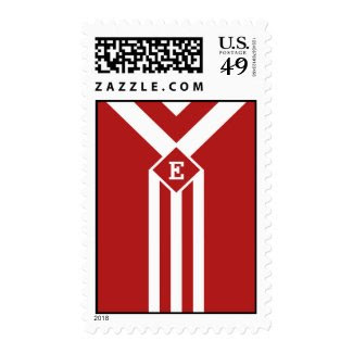 White Stripes and Chevrons on Red with Monogram Stamps