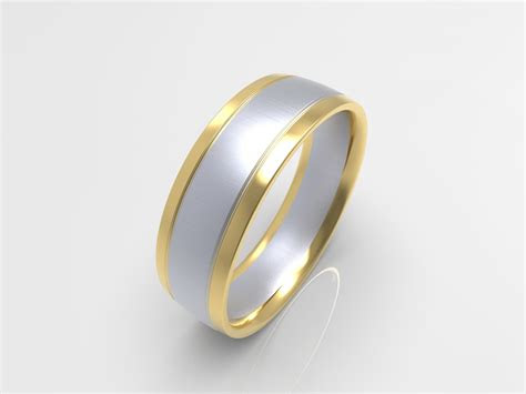xv brushed white  yellow gold  tone mens wedding band
