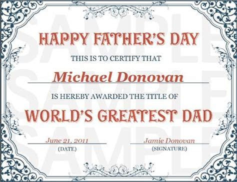 World's Greatest Dad Certificate   Free Printables Online