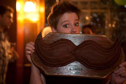 little girl - big mustache