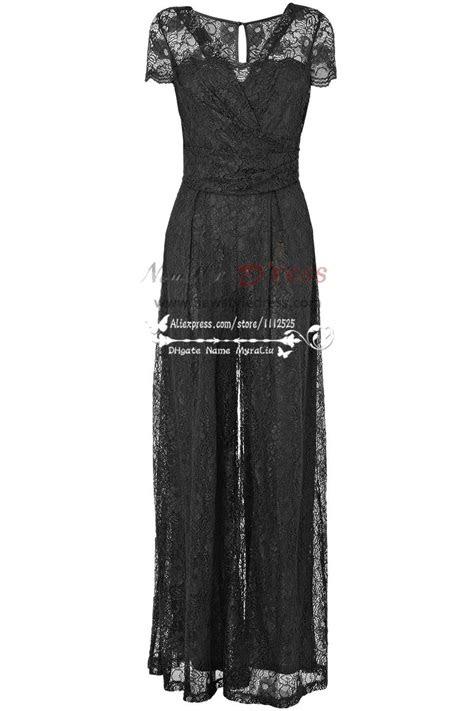 modern sexy black prom jumpsuit dress  lace nmo