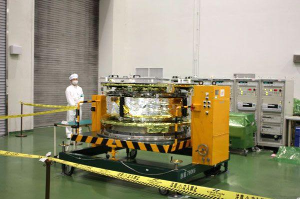 The IKAROS spacecraft inside a clean room at JAXA's Sagamihara Campus.