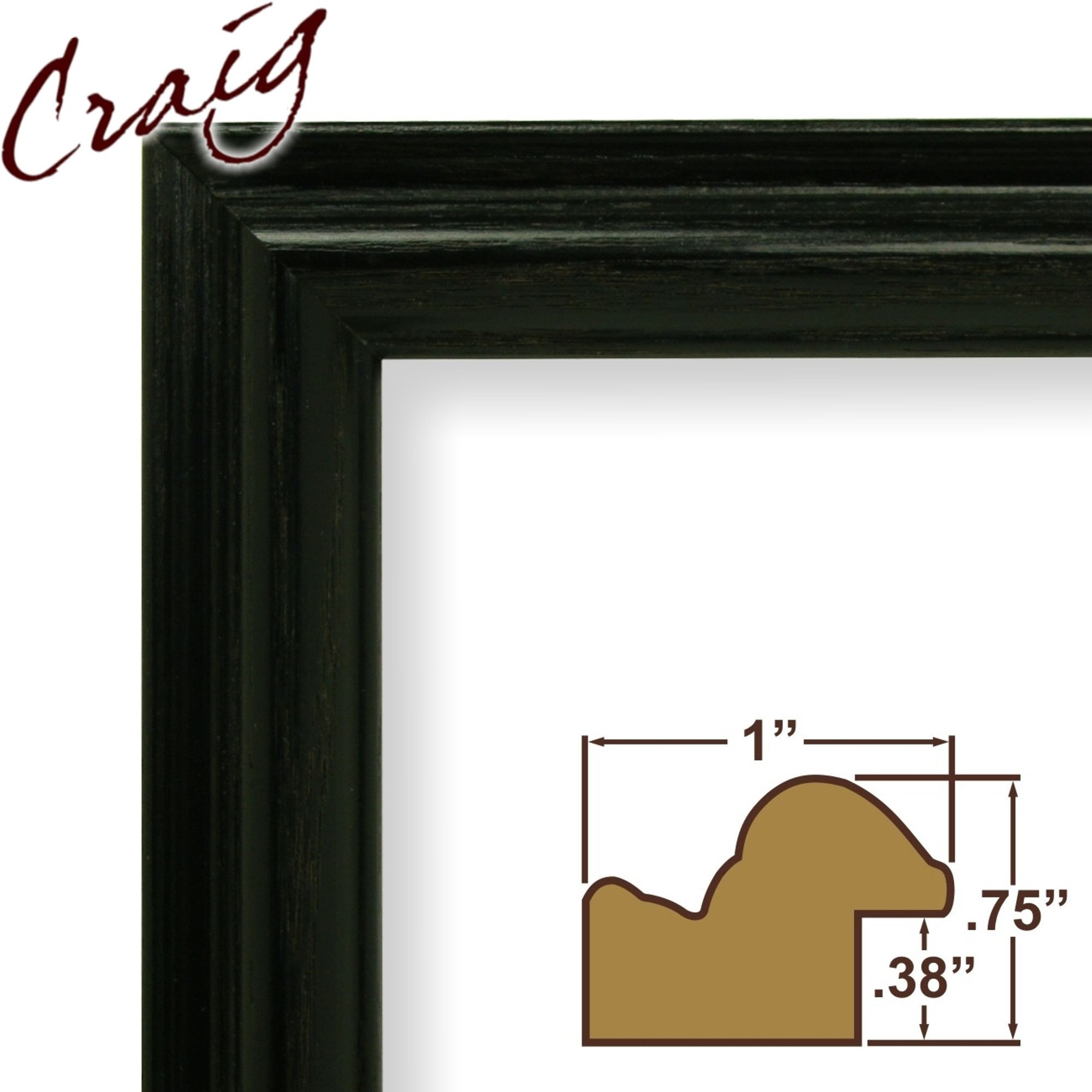 Craig Frames Inc 4x17 Custom 1 Wide Complete Black Wood Picture