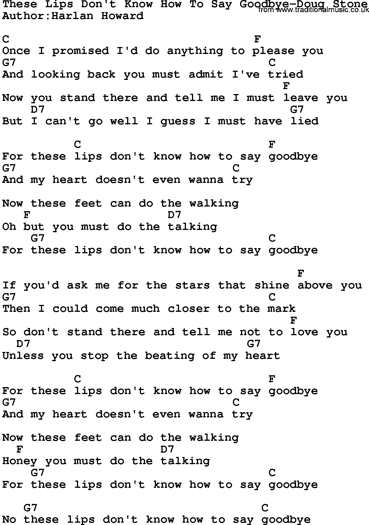 Country Musicthese Lips Dont Know How To Say Goodbye Doug Stone