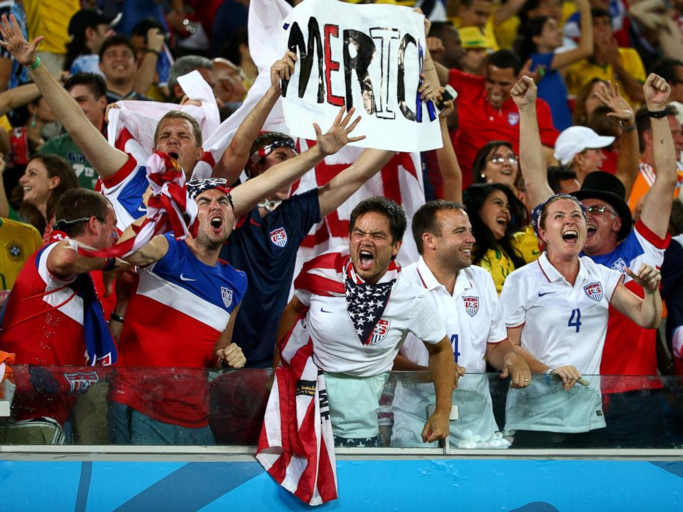 PHOTO: The United States fans celebrate during the 2014 FIFA World Cup Brazil Group G match between Ghana and the United States at Estadio das Dunas on June 16, 2014 in Natal, Brazil.