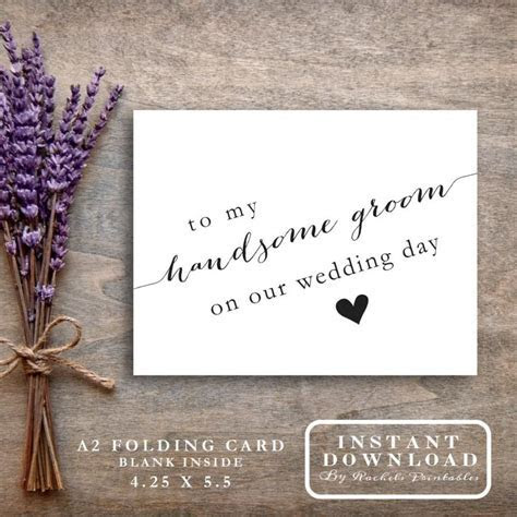 "Printable ""To My Handsome Groom On Our Wedding Day"" Card"
