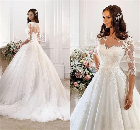 2015 Vintage Modest Lace Wedding Dresses With Half Sleeves