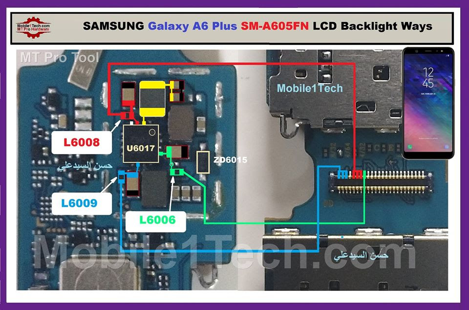 Samsung Galaxy A6 Plus A650F Cell Phone Screen Repair Light Problem Solution Jumper Ways