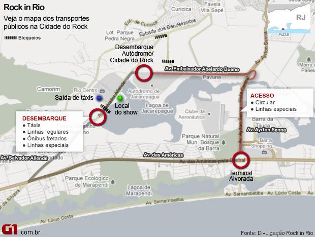 Rock in Rio 2011 - mapa de transportes públicos - vale este (Foto: Editoria de arte G1)