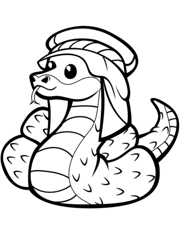 cute snake in kufia coloring page  free printable